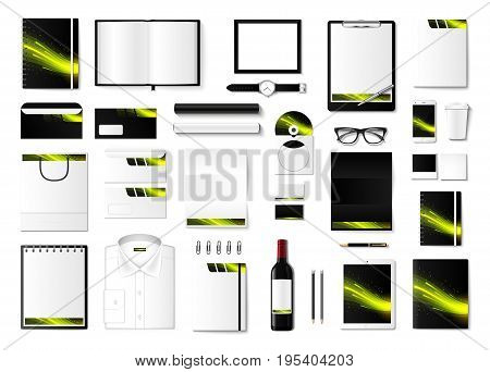 Corporate identity template set. Business stationery mock-up with logo. Branding design. Notebook, card, catalog, pen, pencil, badge, tablet pc mobile phone letterhead.