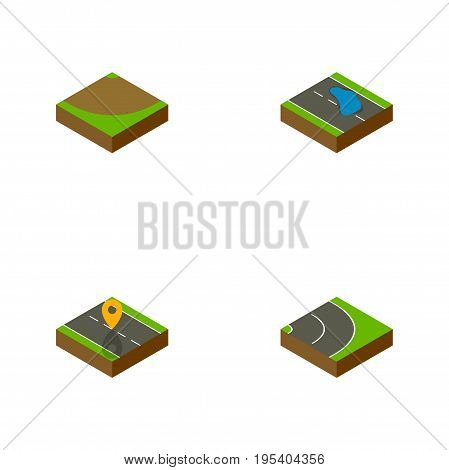 Isometric Way Set Of Plash, Turn, Navigation And Other Vector Objects. Also Includes Location, Turn, Asphalt Elements.