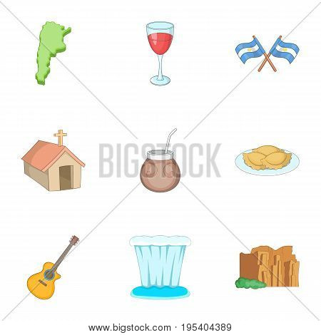Attraction Argentina icons set. Cartoon set of 9 attraction Argentina vector icons for web isolated on white background
