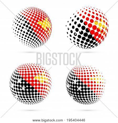 Papua New Guinea Halftone Flag Set Patriotic Vector Design. 3D Halftone Sphere In Papua New Guinea N
