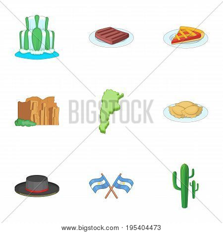 Argentina picnic icons set. Cartoon set of 9 Argentina picnic vector icons for web isolated on white background