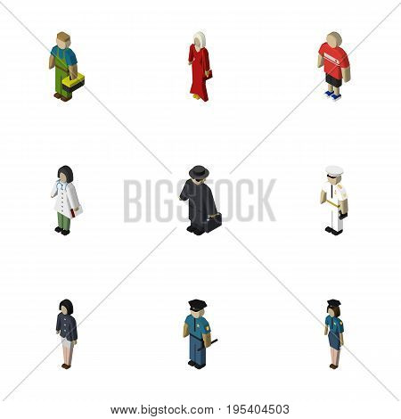 Isometric Person Set Of Doctor, Seaman, Policewoman And Other Vector Objects. Also Includes Agent, Sailor, Officer Elements.