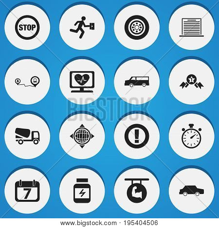 Set Of 16 Editable Complicated Icons. Includes Symbols Such As Chronometer, Auto, World And More. Can Be Used For Web, Mobile, UI And Infographic Design.