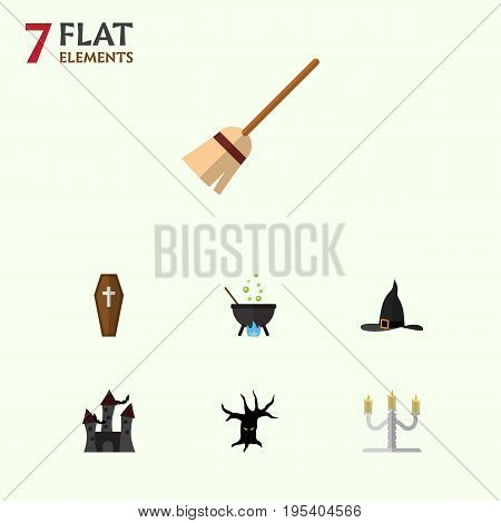 Flat Icon Festival Set Of Broom, Casket, Witch Cap And Other Vector Objects. Also Includes Casket, Broom, Fortress Elements.