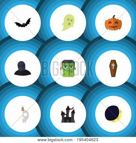 Flat Icon Festival Set Of Tomb, Cranium, Crescent And Other Vector Objects. Also Includes Phantom, Pumpkin, Zombie Elements.