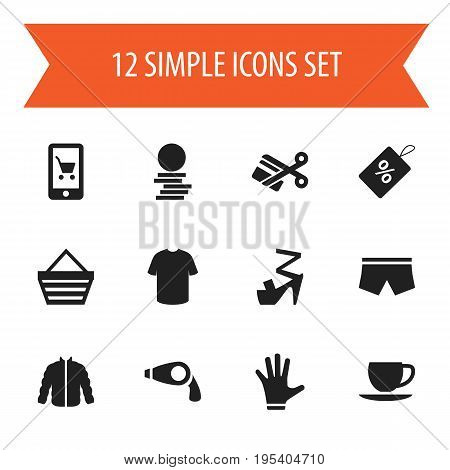 Set Of 12 Editable Business Icons. Includes Symbols Such As Saucer, Stiletto, Hard Money And More. Can Be Used For Web, Mobile, UI And Infographic Design.