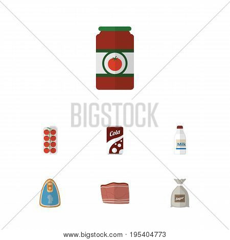 Flat Icon Food Set Of Bottle, Sack, Fizzy Drink And Other Vector Objects. Also Includes Breakfast, Cola, Milk Elements.