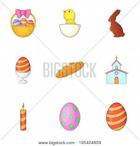 Easter celebration icons set. Cartoon set of 9 easter celebration vector icons for web isolated on white background
