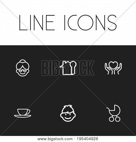 Set Of 6 Editable Folks Icons. Includes Symbols Such As Grandma, Heart In Hand, Key. Can Be Used For Web, Mobile, UI And Infographic Design.