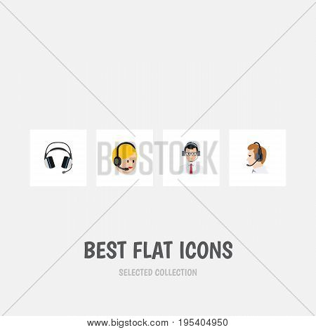 Flat Icon Hotline Set Of Earphone, Telemarketing, Call Center And Other Vector Objects. Also Includes Help, Center, Headset Elements.