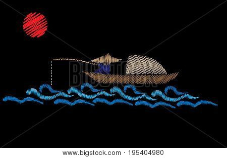 A fisherman is in a boat fishes with red sun embroidery stitches imitation on the black background. Fisherman embroidery vector illustration. Vector isolated embroidery boat fishes.