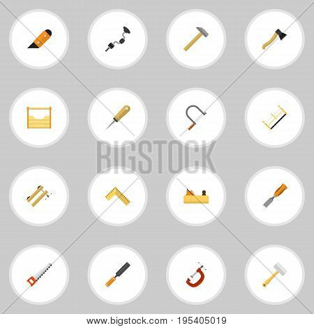 Set Of 16 Editable Instrument Icons. Includes Symbols Such As Bit, Handsaw, Bodkin. Can Be Used For Web, Mobile, UI And Infographic Design.