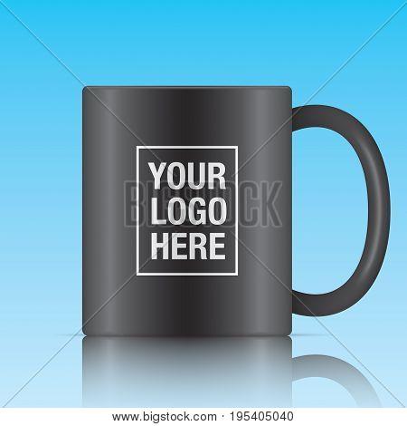 Black vector coffee mug template isolated on a blue background. Vector mug mockup for your logo design.