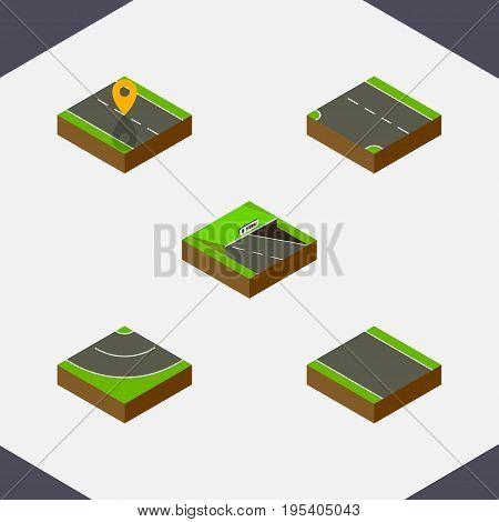 Isometric Road Set Of Navigation, Without Strip, Road And Other Vector Objects. Also Includes Unilateral, Strip, Subway Elements.