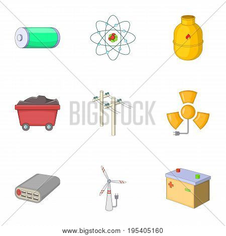Energy resource icons set. Cartoon set of 9 energy resource vector icons for web isolated on white background