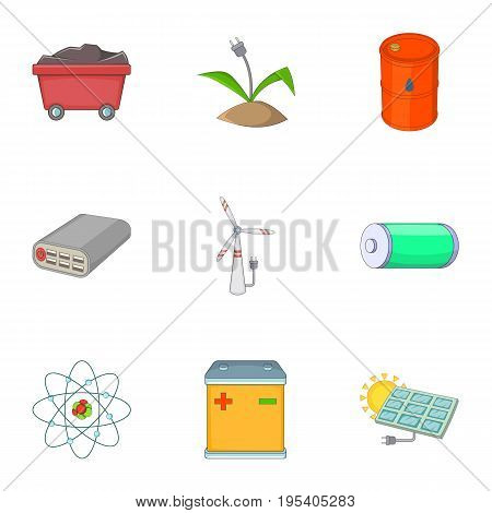 Energy saving icons set. Cartoon set of 9 energy saving vector icons for web isolated on white background