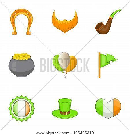 Irish day icons set. Cartoon set of 9 irish day vector icons for web isolated on white background