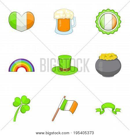 Ireland travel icons set. Cartoon set of 9 Ireland travel vector icons for web isolated on white background