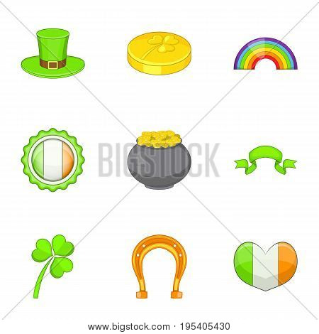 Saint Patrick day icons set. Cartoon set of 9 saint Patrick day vector icons for web isolated on white background