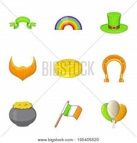Irish icons set. Cartoon set of 9 irish vector icons for web isolated on white background