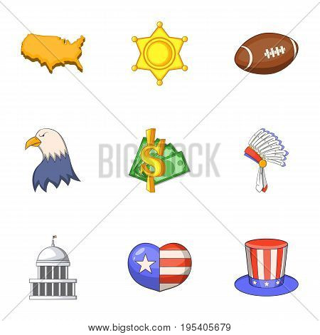 American icons set. Cartoon set of 9 american vector icons for web isolated on white background