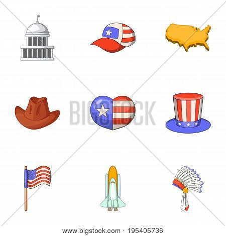Love of America icons set. Cartoon set of 9 love of America vector icons for web isolated on white background