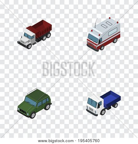 Isometric Transport Set Of Freight, Lorry, First-Aid And Other Vector Objects. Also Includes Freight, Suv, Armored Elements.