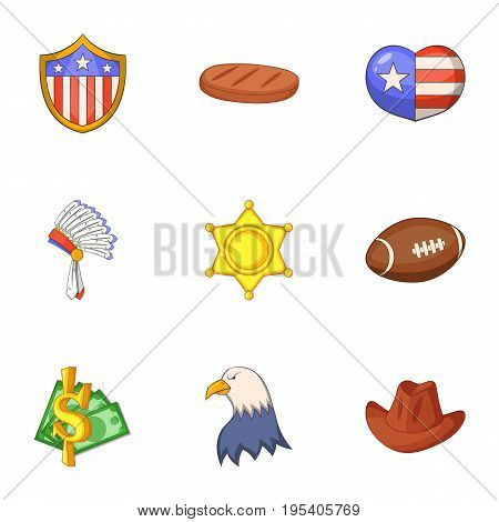 American dream icons set. Cartoon set of 9 american dream vector icons for web isolated on white background