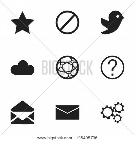 Set Of 9 Editable Web Icons. Includes Symbols Such As Deny, Sky, Bookmark And More. Can Be Used For Web, Mobile, UI And Infographic Design.