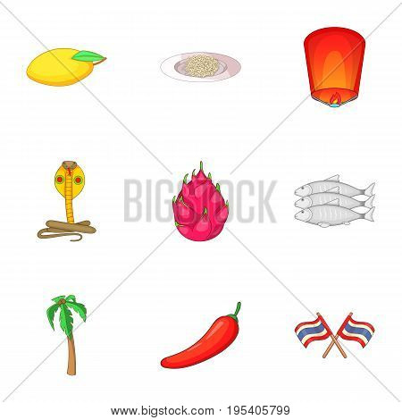 Thailand food icons set. Cartoon set of 9 Thailand food vector icons for web isolated on white background