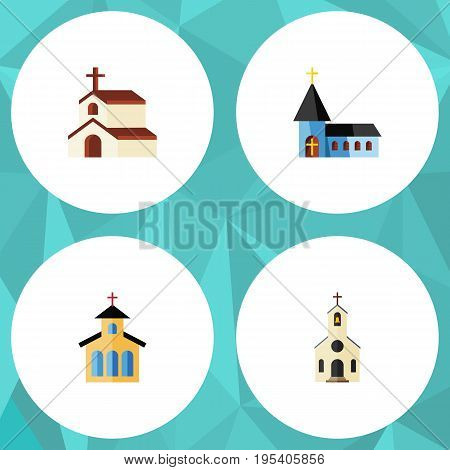 Flat Icon Church Set Of Building, Religion, Catholic And Other Vector Objects. Also Includes Structure, Religion, Christian Elements.