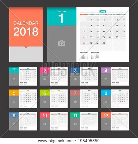 2018 Calendar. Desk Calendar modern design template with place for photo. Week starts Sunday. Vector illustration.