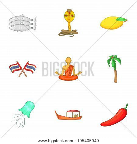 Thailand culture icons set. Cartoon set of 9 Thailand culture vector icons for web isolated on white background