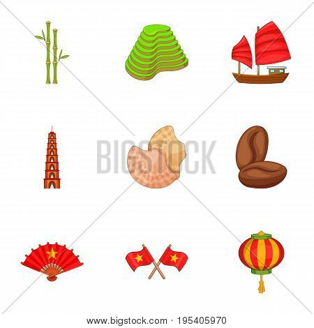 Vietnam icons set. Cartoon set of 9 Vietnam vector icons for web isolated on white background