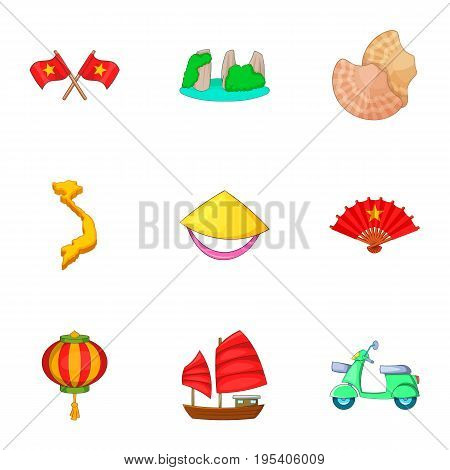 Typical Vietnam icons set. Cartoon set of 9 typical Vietnam vector icons for web isolated on white background