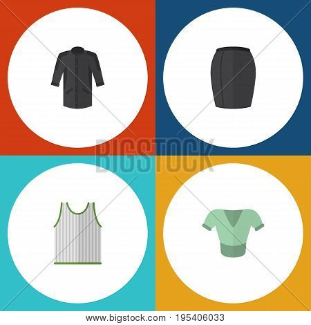 Flat Icon Garment Set Of Uniform, Stylish Apparel, Singlet And Other Vector Objects. Also Includes Apparel, Skirt, Sleeveless Elements.