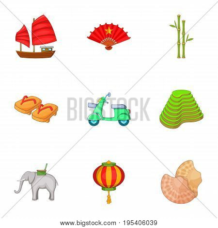 Vietnam travel icons set. Cartoon set of 9 Vietnam travel vector icons for web isolated on white background