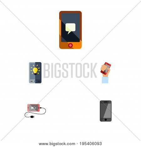 Flat Icon Touchscreen Set Of Telephone, Screen, Accumulator And Other Vector Objects. Also Includes Bulb, Charge, Holding Elements.