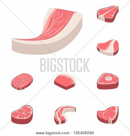 Beef steak raw meat food red fresh cut butcher uncooked chop barbecue bbq slice ingredient vector illustration. Slice pork cooking barbecue fillet sirloin beefsteak gourmet protein meal.