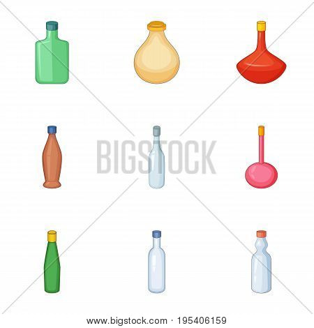 Emprty bottle icons set. Cartoon set of 9 emprty bottle vector icons for web isolated on white background