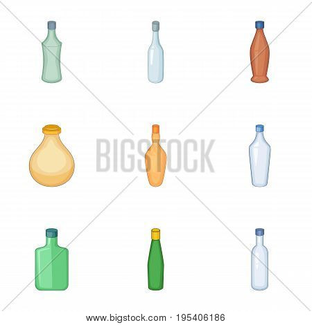Emprty bottle of alcohol icons set. Cartoon set of 9 emprty bottle of alcohol vector icons for web isolated on white background