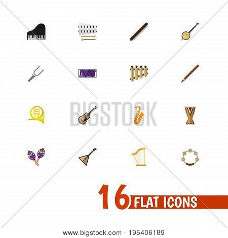 Set Of 16 Editable Song Icons. Includes Symbols Such As Fife, Beanbag, Range And More. Can Be Used For Web, Mobile, UI And Infographic Design.