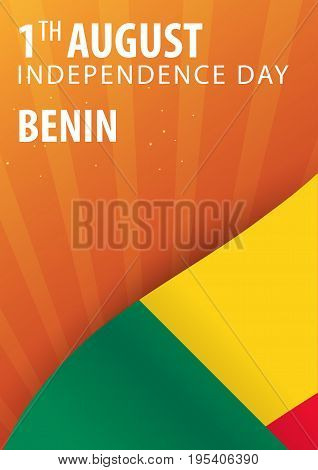 Independence Day Of Benin. Flag And Patriotic Banner. Vector Illustration.