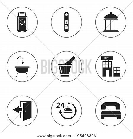 Set Of 9 Editable Motel Icons. Includes Symbols Such As Champagne, Outlet, Baggage And More. Can Be Used For Web, Mobile, UI And Infographic Design.