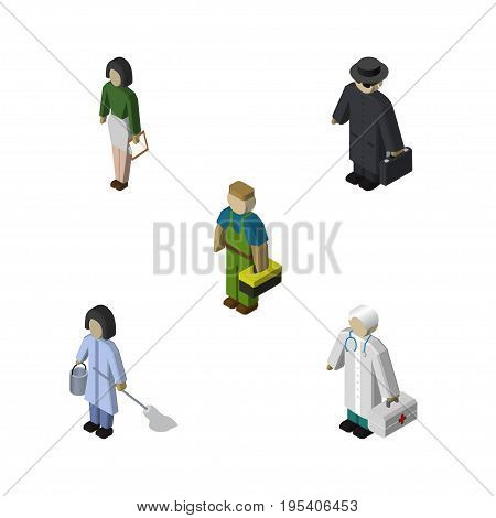 Isometric Person Set Of Detective, Pedagogue, Medic And Other Vector Objects. Also Includes Housekeeper, Technician, Educator Elements.