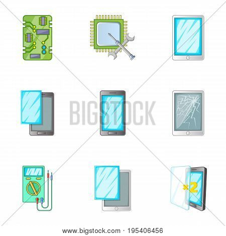 Phone repair online service icons set. Cartoon set of 9 phone repair online service vector icons for web isolated on white background
