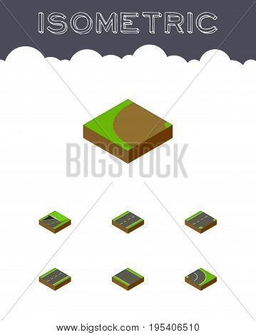 Isometric Road Set Of Driveway, Asphalt, Without Strip And Other Vector Objects. Also Includes Rotation, Unilateral, Turning Elements.