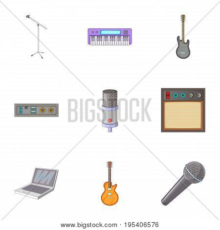 Sound recording studio icons set. Cartoon set of 9 sound recording studio vector icons for web isolated on white background