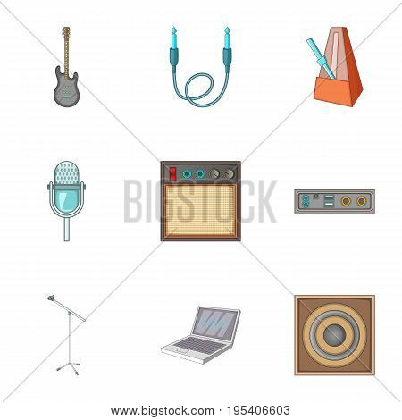 Music studio equipment icons set. Cartoon set of 9 music studio equipmen vector icons for web isolated on white background