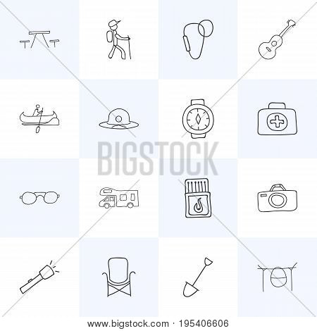 Set Of 16 Editable Travel Icons. Includes Symbols Such As Hiker, Flashlight, Shovel And More. Can Be Used For Web, Mobile, UI And Infographic Design.